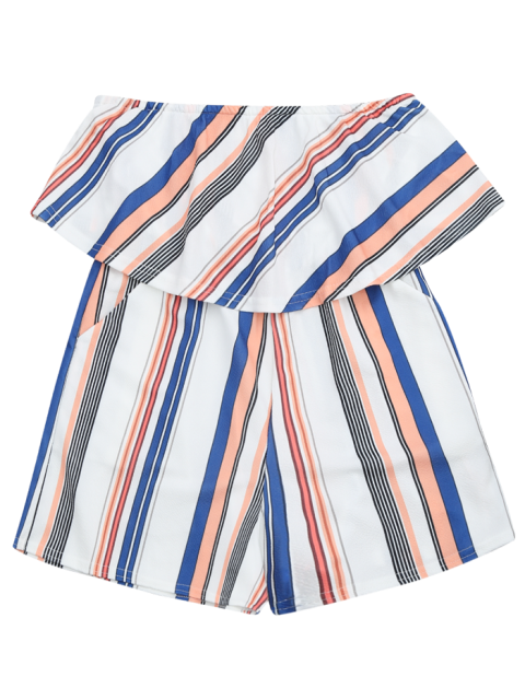 trendy Bandeau Overlay Romper With Multi Stripes - COLORMIX S Mobile