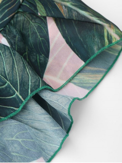 womens Drawstring Backless Leaf Print Beach Romper - FLORAL L Mobile