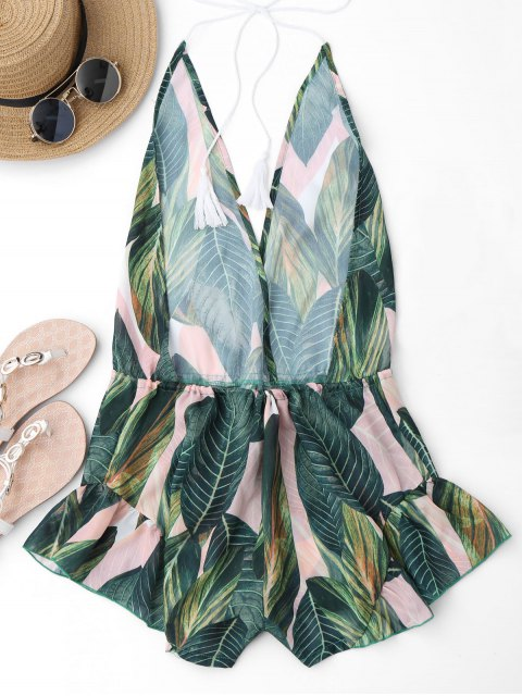 women's Drawstring Backless Leaf Print Beach Romper - FLORAL S Mobile