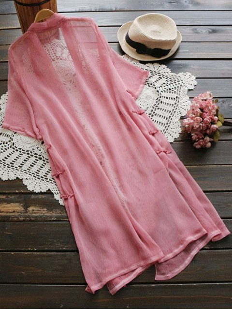 new Longline Side Slit Frog Buttons Duster Coat - PINK ONE SIZE Mobile