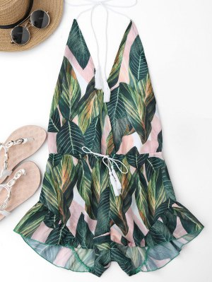 Drawstring Backless Leaf Print Beach Romper