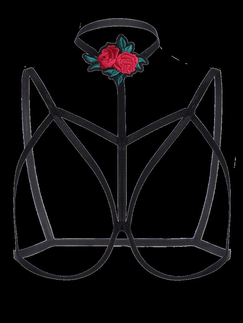 Bondage Cupless Floral Applique Bra Strap 214950901