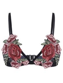 Back Closure Floral Applique Mesh Bra