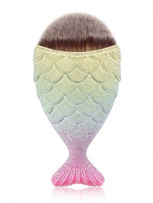 Mermaid Design Portable Facial Makeup Brush - Gold And Pink