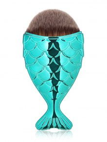 Mermaid Design Portable Facial Makeup Brush - Blue Green