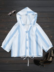 Hooded Stripes Drawstring Hem Top