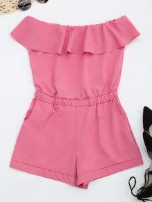 Strapless Ruffle Romper With Pockets