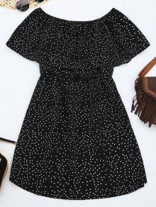 Off Shoulder Ruffle Polka Dot Dress - Black S