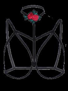 Bondage Cupless Floral Applique Bra Strap - Black M