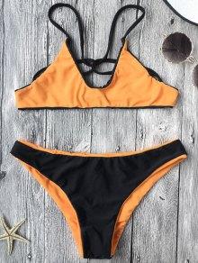 Two Tone Lined Reversible Strappy Bikini