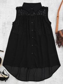 Lace Panel High Low Tank Top - Black S