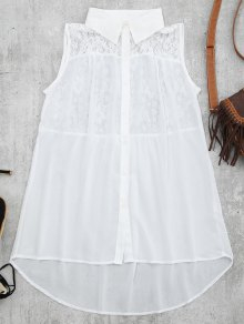 Lace Panel High Low Tank Top