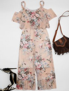 Ruffle Cold Shoulder Floral Palazzo Jumpsuit