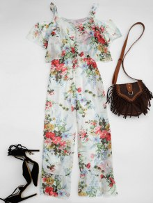 Ruffle Cold Shoulder Floral Palazzo Jumpsuit - White M