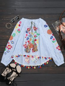 Tassels High Low Embroidered Blouse