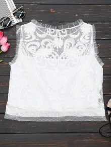 Embroidered Ruffles Lace Tank Top