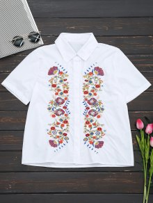 Short Sleeve Floral Embroidered Shirt