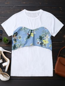 Back Bowknot Floral T-Shirt - White S