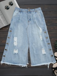 Ripped Button Up Wide Leg Capri Jeans - Denim Blue L