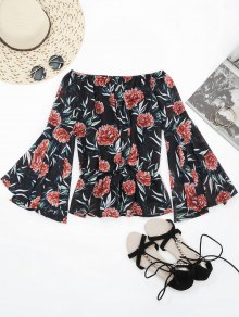 Flare Sleeve Floral Off Shoulder Chiffon Blouse - Floral S
