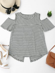 Cold Shoulder Striped Back Slit T-shirt