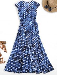 Polka Dot Maxi Wrap Cover Up Dress