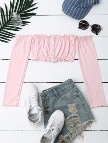 Button Up Off Shoulder Cropped Top