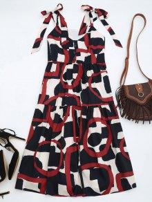 Tie Shoulder Printed Sleeveless Sundress - L