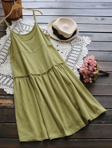Creased Ruffles Smock Cami Dress