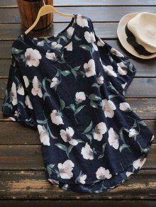 Loose Arc Hem Floral Blouse
