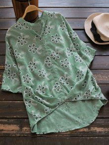 Loose Embroidered Linen High Low Blouse