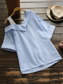Loose One Shoulder Striped Blouse