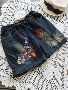 Patch Design Embroidered Ripped Denim Shorts - Deep Blue Xl