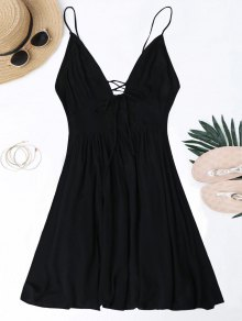 Plunge Low Back Lace Up Sundress