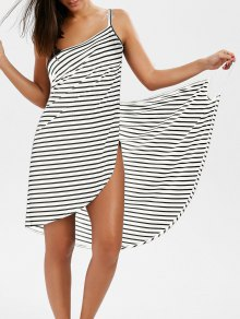 Striped Open Back Cover-ups Dress - White M