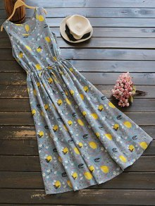 Sleeveless Drawstring Lemon Print Maxi Dress