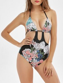 Floral Print Cut Out High Waisted Swimwear - Black M