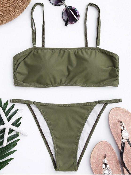 Bandeau Bikini Top y Tanga Bottoms - Verde del ejército S