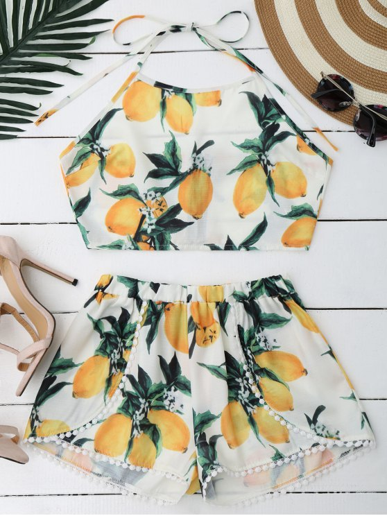 ladies Lemon Halter Crop Top Shorts Set - WHITE S