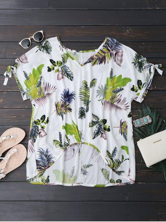 trendy Oversized Tropical Asymmetrical Top - WHITE S