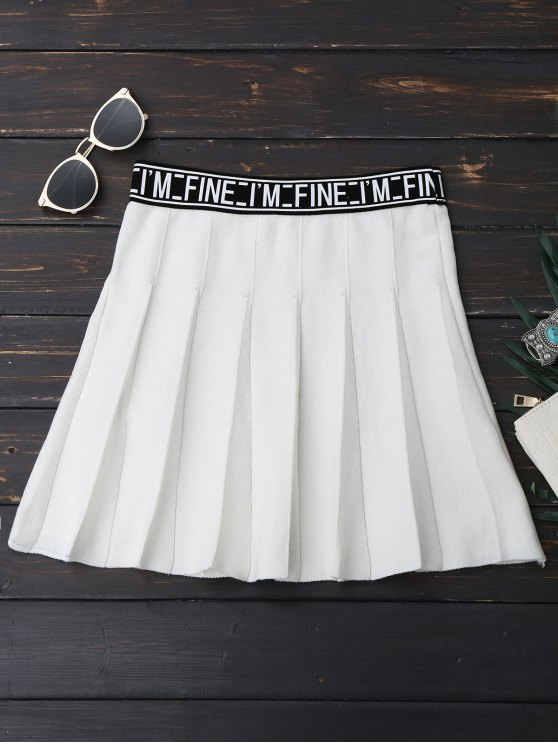 chic Knitting Letter A-Line Mini Skirt - WHITE ONE SIZE