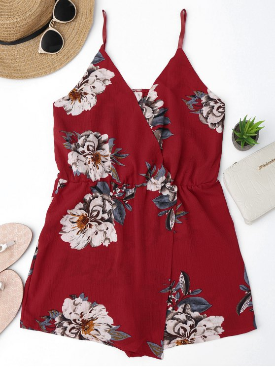 women Cami Layered Floral Romper - FLORAL M
