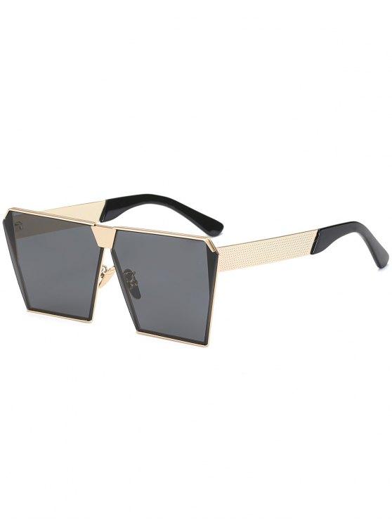 خمر إطار مربع النظارات الشمسية - أسود