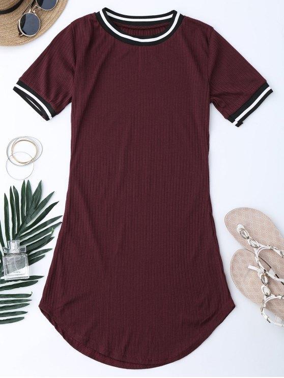 Mini vestido con rayas de panel rayado - Vino Rojo S