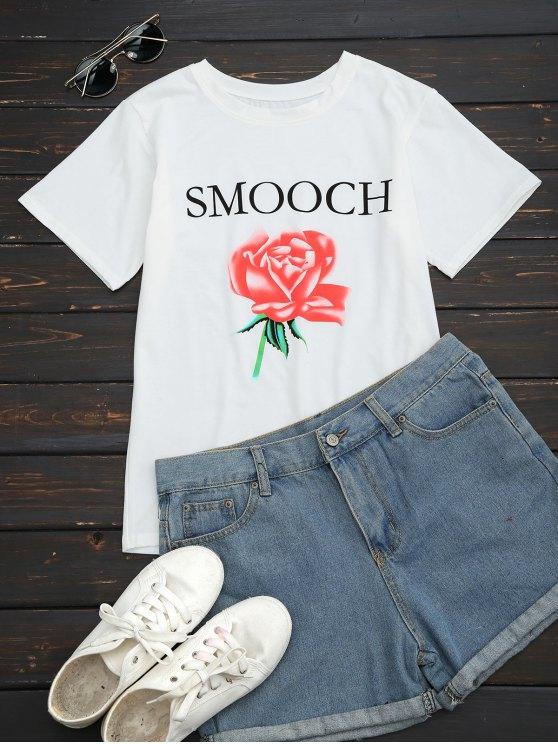 Camiseta redonda de la letra de la flor del collar - Blanco L
