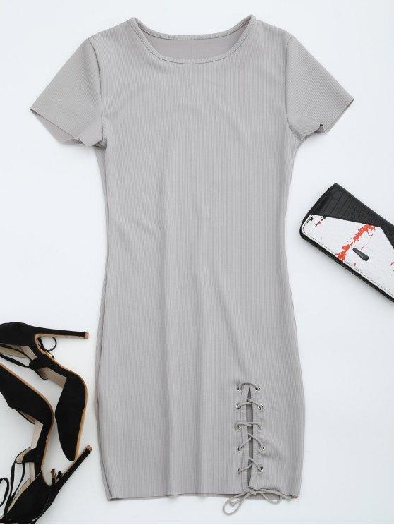 Cuello redondo con cordones hasta el vestido - Gris XL