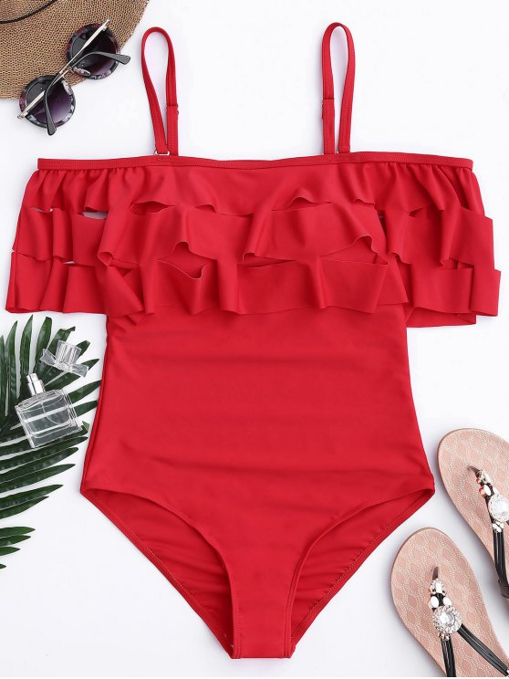 online Ruffle Off The Shoulder One Piece Swimsuit - RED L