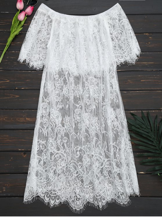 De la blusa de encaje transparente hombro - Blanco L