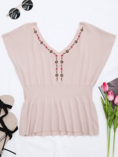 Ribbed Panel Knitting Embroidered Top - Pink