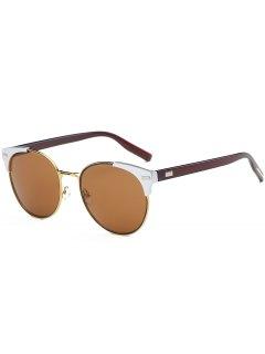 Retro Round Metal Spliced Cat Eye Sunglasses - Tea-colored